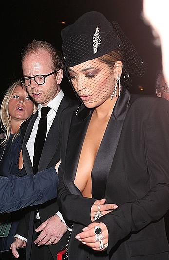 Rita Ora cleavage at The GQ Men Of The Year Awards in London