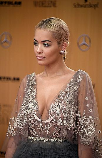 Rita Ora see through to nipples at Bambi Awards