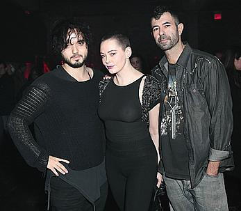 Rose Mcgowan in see through tight top at Charliewood Exhibition opening