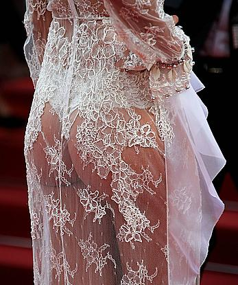 Sara Sampaio in see through dress at Cannes Film Festival