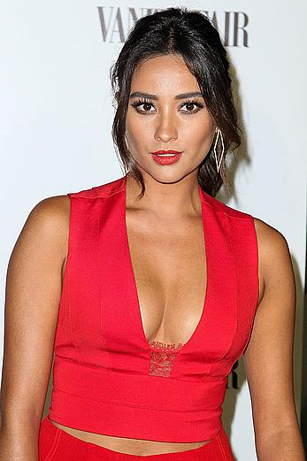 Shay Mitchell cleavage at Vanity Fair and FIAT Celebration of Young Hollywood