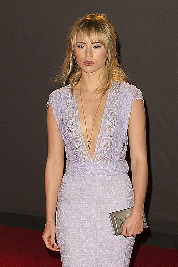 Suki Waterhouse in see through dress at British Fashion Awards in London