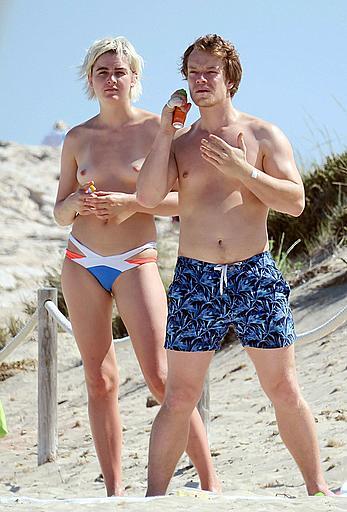Teliz Alley girlfriend of Alfie Allen topless on a beach in Formentera