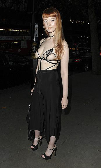 Victoria Clay almost topless in see through bra at the party in London