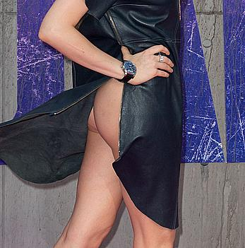 Xenia Tchoumitcheva wardrobe malfunction shows her ass at London Suicide Squad premiere