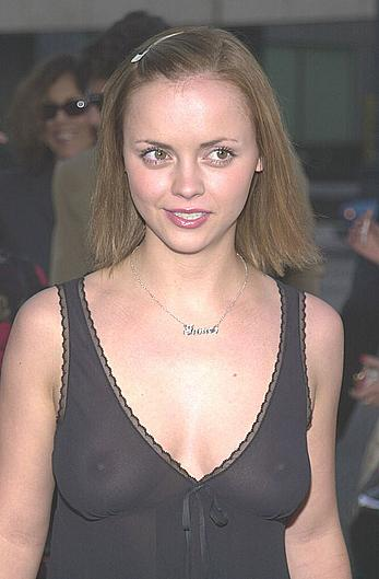 Christina Ricci topless under transparent dress