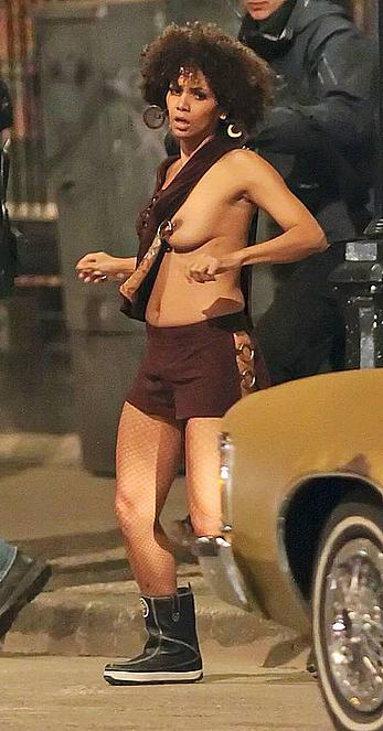 Halle Berry topless during filminf movie