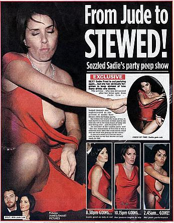 Sadie Frost boobslip and upskirt shots