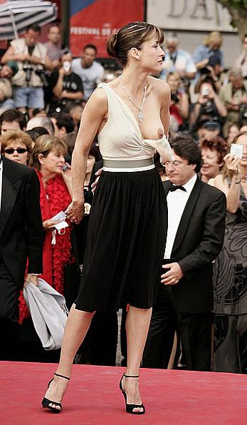 Sophie Marceau wardrobe malfunction at Cannes film festival