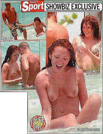 Natasha Hamilton from Atomic Kitten topless on the beach paparazzi shots