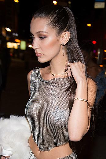 Bella Hadid in see through dress arriving at Up&Down nightclub