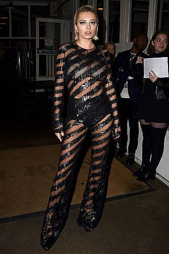 Busty Caroline Vreeland in see through outfit at London Fashion week