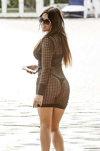 Claudia Romani round ass under see through dress