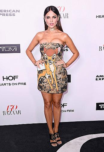 Eiza Gonzalez legs and cleavage at Harper's Bazaar 150 Most Fashionable Woman Cocktail party
