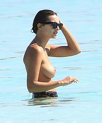 Busty Emily Ratajkowski topless on a beach in Cancun
