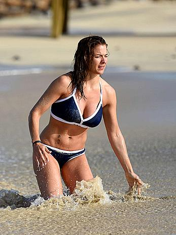 Gemma Atkinson in blue bikini candids in Cape Verde