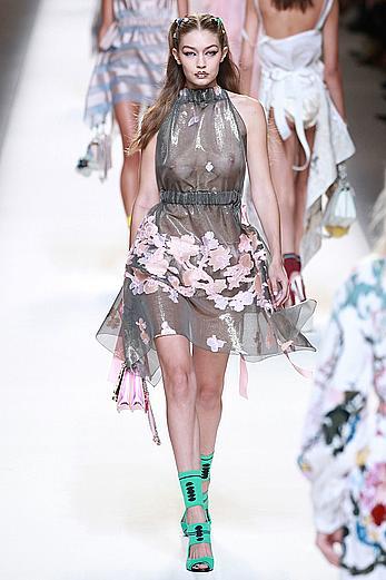 Gigi Hadid in see through dress runway pics at Fendi Show