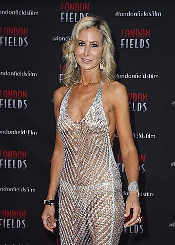 Lady Victoria Hervey in see through dress at London Fields premiere