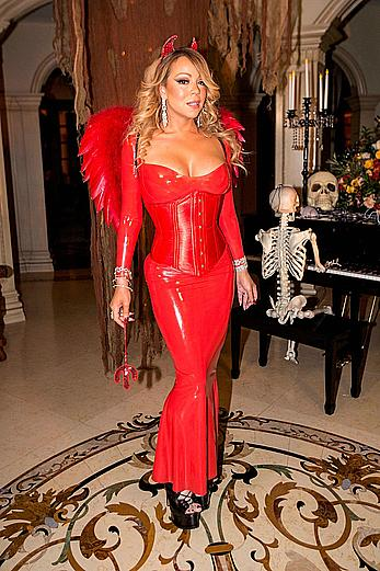 Mariah Carey in tight red dress at her Halloween Party in Los Angeles
