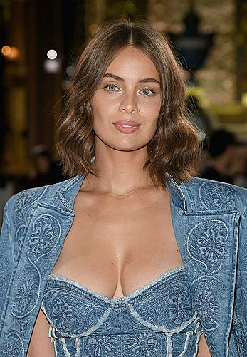Marie-Ange Casta sexy cleavage at Paris Fashion Week