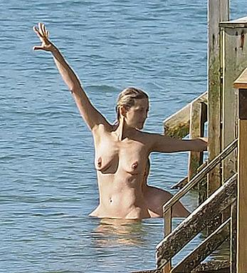 Marion Cotillard swimming fully nude in the ocean in Cap-Ferret