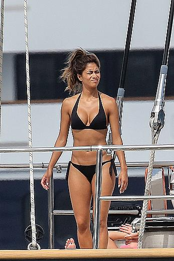Nicole Scherzinger wearing black bikini on a yacht in Monte Carlo