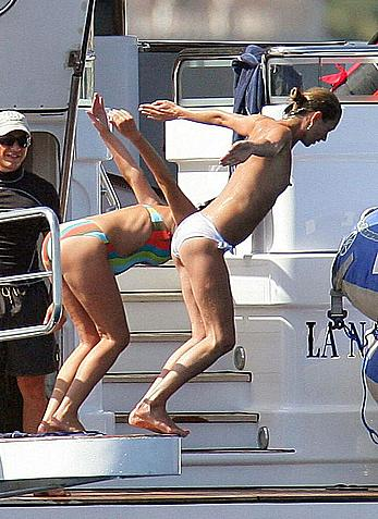 Kate Moss caught topless on a yacht