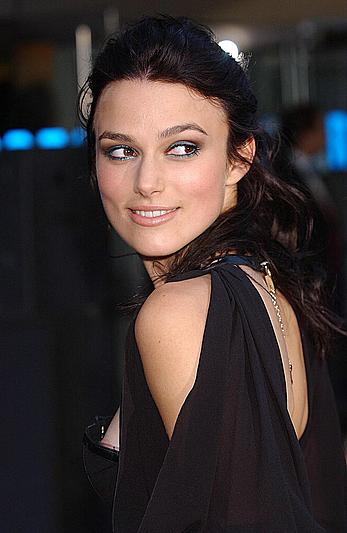 Keira Knightley nipple slip in black dress