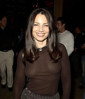 Fran Drescher shows nude boobs under transparent top