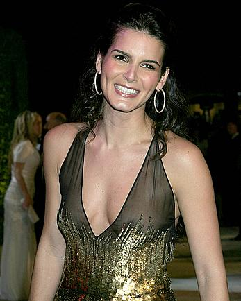 Angie Harmon shows nude tits under see through dress