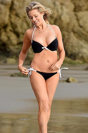 Abi Titmuss in a bikini on a beach in Malibu