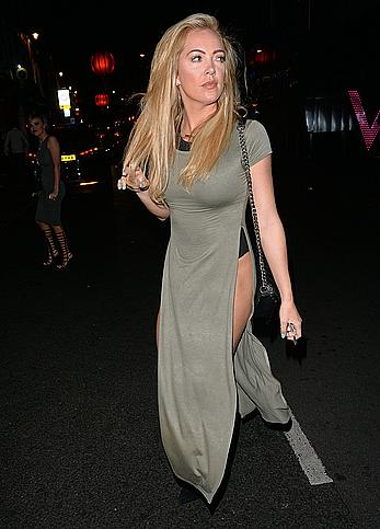 Aisleyne Horgan-Wallace upskirt shows her ass outside her hotel