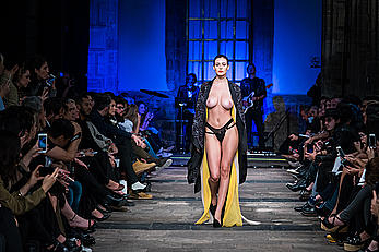 Alejandra Guilmant runway topless at Mercedes Benz Fashion Week