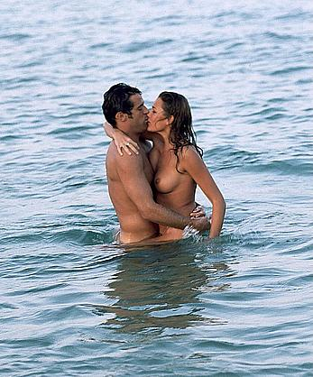 Alena Seredova topless on a beach and yacht