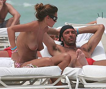 Alena Seredova sunbathing topless at Miami beach