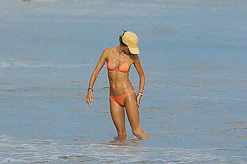 Alessandra Ambrosio in bikini enjoying day on the beach in Malibu