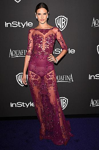 Alessandra Ambrosio without bra under in see through dress.