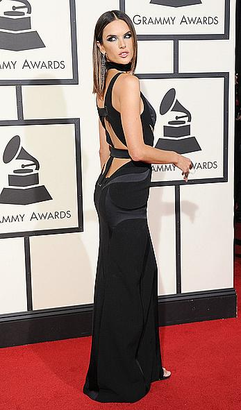 Alessandra Ambrosio sexy cleavage at 58th Annual Grammy Awards