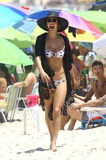Alessandra Ambrosio in bikini on the beach in Florianopolis