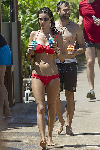 Alessandra Ambrosio in red bikini in Hawaii