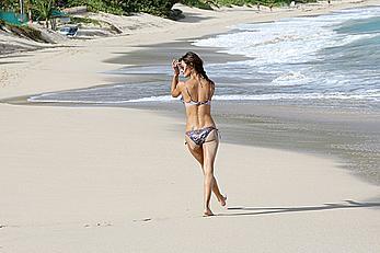 Alessandra Ambrosio wearing a bikini in St Barts