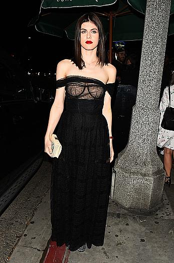 Alexandra Daddario in see through dress at Dior Addict Lacquer Pump Launch party