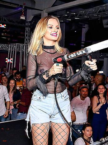 Alexandra Stan in a see through top at club Faraon
