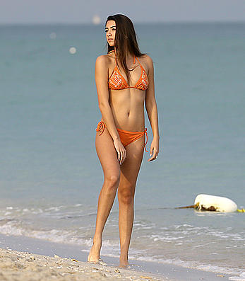 Alexis Rupp in orange bikini Candids