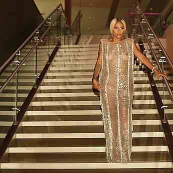 Alexis Skyy in see through dress attends the BET Awards