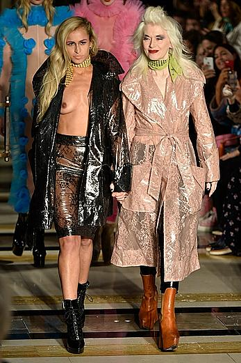 Alice Dellal tit slip at runway for the Pam Hogg show during London Fashion Week