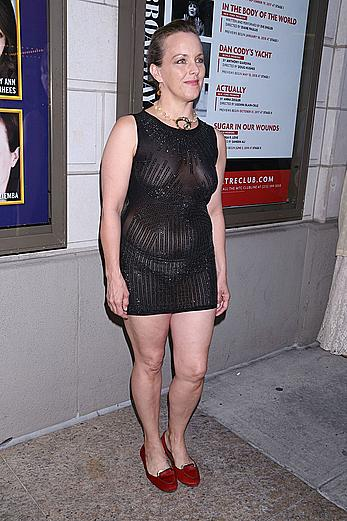 Alice Ripley braless in see through dress at the Samuel J. Friedman Theatre