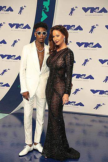 Amber Rose in see through dress at 2017 MTV Video Music Awards