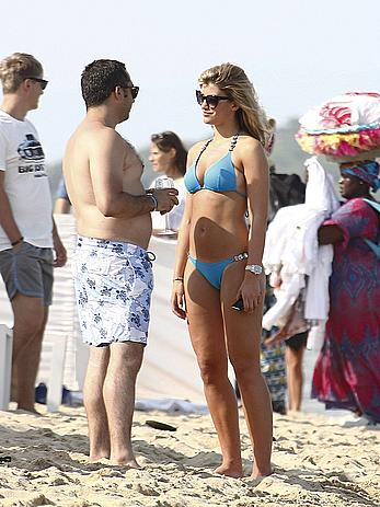 Amy Willerton wearing blue bikini in Saint-Tropez