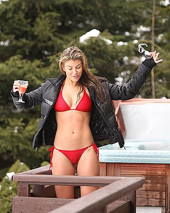 Amy Willerton sexy in red bikini poolside shots